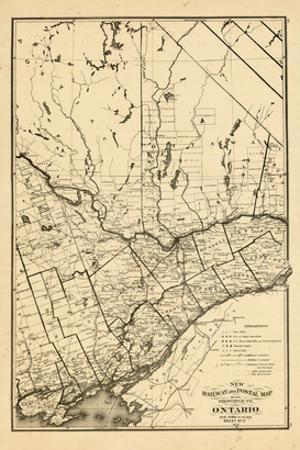 1876, Ontario Province - Railway and Postal Map 3, Canada
