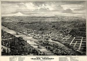1876, Salem Bird's Eye View, Oregon, United States