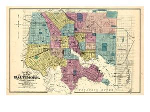 1877, Baltimore City Map 1877, Maryland, United States