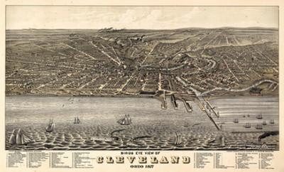 1877, Cleveland Bird's Eye View, Ohio, United States