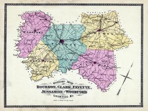 1877, Kentucky Counties Outline Map, Kentucky, United States