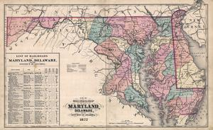 1877, Maryland and Delaware Railroad Map 1877, Maryland, United States