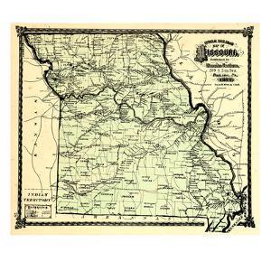 1877, State Map, Missouri, United States