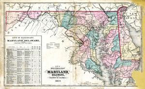 1877, State Map of Maryland - Delaware - D.C., Maryland, United States