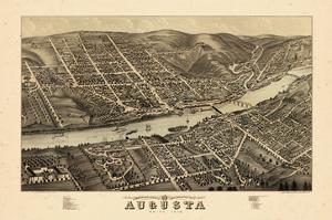 1878, Augusta Bird's Eye View, Maine, United States