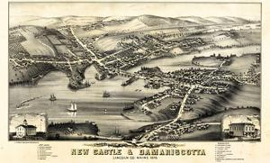 1878, New Castle and Damariscotta Bird's Eye View, Maine, United States