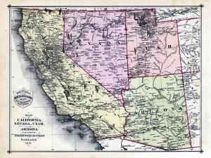 1879, California, Nevada, Utah, and Arizona States Map, California, United States