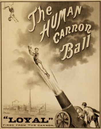 1879 Circus Poster for Human Cannonball Aerial Acrobatic Act