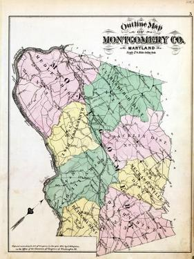 1879, Montgomery County Outline Map, District of Columbia, United States