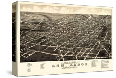 1880, Ann Arbor Bird's Eye View, Michigan, United States
