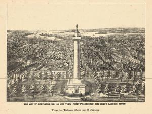 1880, Baltimore Bird's Eye View, Maryland, United States