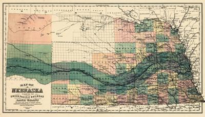 1880, Nebraska 1880 State Map, Nebraska, United States