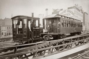 1880s Men on Board Elevated Locomotive and Passenger Car on East 42nd Street Grand Union Hotel