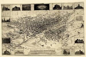 1881, Denver Bird's Eye View, Colorado, United States