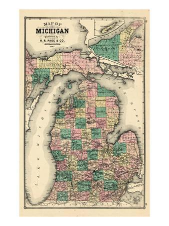 Maps of Michigan Posters for sale at AllPosterscom