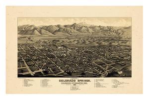 1882, Colorado Springs 1882c Bird's Eye View, Colorado, United States