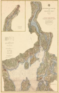 1882, Penobscot River, Belfast Bay Chart 1882, Maine, United States