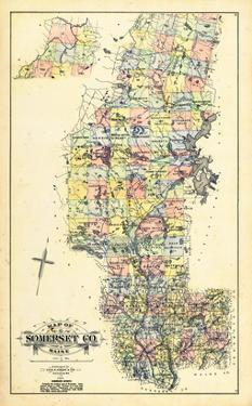 1883, Somerset County Map, Maine, United States