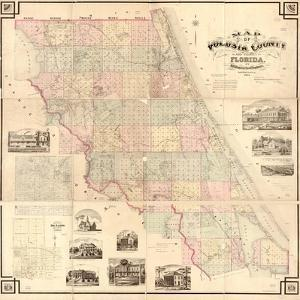 1883, Volusia County and Vicinity Wall Map, Florida, United States