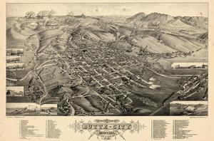1884, Butte City Bird's Eye View, Montana, United States
