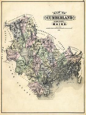 1884, Cumberland County Map, Maine, United States