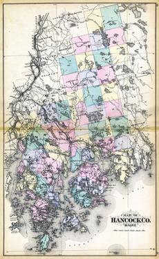 1884, Hancock County Map, Maine, United States