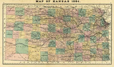 1884, Kansas State Map, Kansas, United States