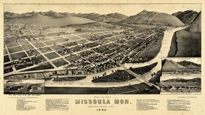 1884, Missoula Bird's Eye View, Montana, United States