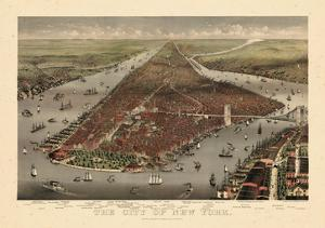 1884, New York City 1884 Bird's Eye View, New York, United States
