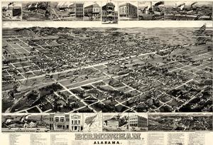 1885, Birmingham Bird's Eye View, Alabama, United States