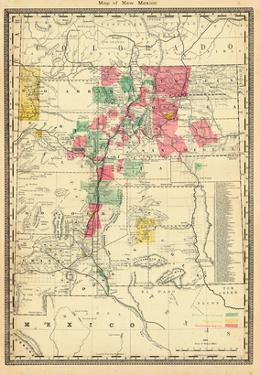1885, New Mexico State Map, New Mexico, United States