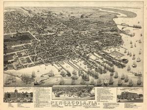 1885, Pensacola Bird's Eye View, Florida, United States