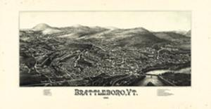 1886, Brattleboro Bird's Eye View, Vermont, United States