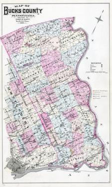 1886, Bucks County Map, Pennsylvania, United States