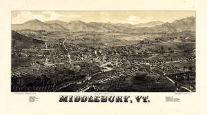 1886, Middlebury 1886c Bird's Eye View, Vermont, United States