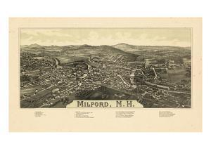 1886, Milford Bird's Eye View, New Hampshire, United States