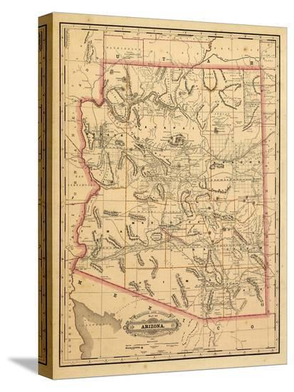 1887, Arizona State Map, United States--Stretched Canvas Print