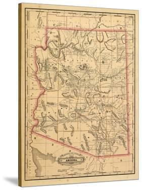 1887, Arizona State Map, United States