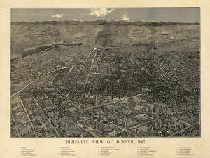 1887, Denver Bird's Eye View, Colorado, United States