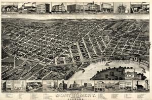 1887, Montgomery Bird's Eye View, Alabama, United States