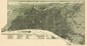 1887, Philadelphia Bird's Eye View, Pennsylvania, United States