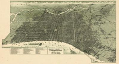 1887, Philadelphia Bird's Eye View, Pennsylvania, United States