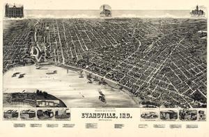 1888, Evansville Bird's Eye View, Indiana, United States