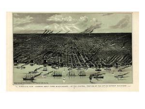 1889, Detroit Bird's Eye View, Michigan, United States