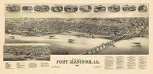 1889, Fort Madison Bird's Eye View, Iowa, United States