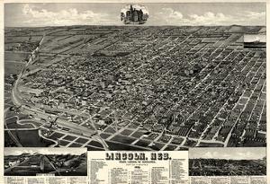 1889, Lincoln 1889 Bird's Eye View, Nebraska, United States