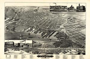1889, Muskegon Bird's Eye View, Michigan, United States
