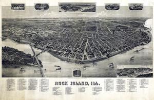 1889, Rock Island Bird's Eye View, Illinois, United States