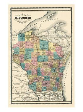 1889, State Map, Wisconsin, United States