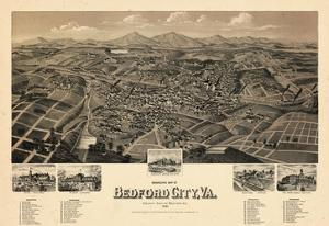 1891, Bedford City Bird's Eye View, Virginia, United States
